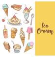 ice cream hand drawn menu with chocolate vector image
