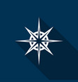 icon compass with a long shadow vector image vector image