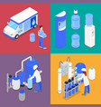 isometric water purification factory courier vector image vector image