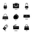 leather handbag icons set simple style vector image vector image