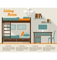 Living room flat interior design infographic vector image vector image