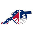 mississippi flag with civil war cannon silhouette vector image vector image