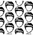 pattern with hand drawn open mouth with tongue vector image vector image