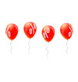 red balloons with percent sign symbol of discount vector image vector image