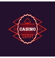 Red Bar Casino Oval Neon Sign vector image