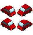 red car from four different angles vector image