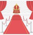 red carpet of cinema award event red carpet stage vector image vector image