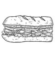 sandwich in engraving style design element vector image vector image