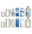 set milk products vector image