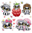 set of cartoon raccoons on a white background vector image vector image