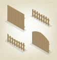 set of isometric spans wooden fences vector image vector image