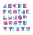 striped alphabet made of crossed lines vector image vector image