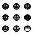 Types of emoticons icons set simple style vector image vector image