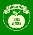 vegan organic natural product logo or label vector image