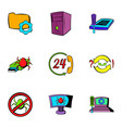 virus danger icons set cartoon style vector image vector image