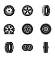 wheel icons set simple style vector image