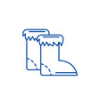 winter boots line icon concept winter boots flat vector image vector image