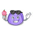 with ice cream blueberry roll cake character vector image