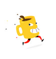 a running yellow cup coffee or tea cartoon vector image