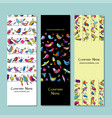 banners design funny birds background vector image vector image