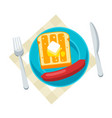 breakfast tasty toast with butter vector image