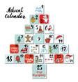 christmas advent calendar winter elements set vector image vector image