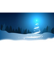 christmas tree blizzard stars snow sky night wood vector image vector image
