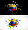 colombia flag with soccer ball dash on colorful vector image vector image