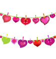 Color Hearts On Clothespegs vector image vector image