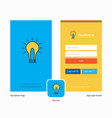 company idea splash screen and login page design vector image vector image