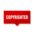 copyrighted red tag vector image vector image