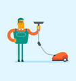 cucasian worker cleaning floor with vacuum cleaner vector image
