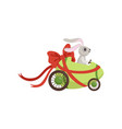 cute little bunny driving easter green car egg vector image vector image