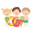 cute little kids with swimsuit and summer icons vector image vector image