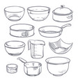 doodle plastic and glass bowls pot and frying pan vector image