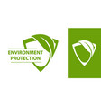 eco logo shield with leaf vector image
