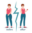 fat and slim women weight loss success vector image vector image