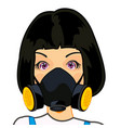 girl in respirator vector image