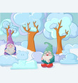 gnome in winter concept banner cartoon style vector image
