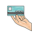 grated business electronic credit card in the hand vector image vector image