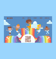 happy childhood banner website design vector image vector image