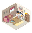 home office in apartment isometric interior vector image