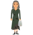 Homeless woman in dirty old clothes vector image
