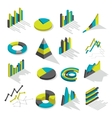 isometric graphs icon set vector image