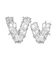 letter v made of flowers vector image vector image