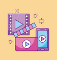 mobile phone movie video player digital technology vector image