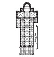 plan of cathedral of spires vintage engraving vector image vector image