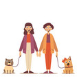 portrait of a young couple walking their dogs on a vector image