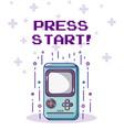 press start retro videogame console vector image