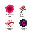 Red green and purple perfumery brand logos set vector image vector image